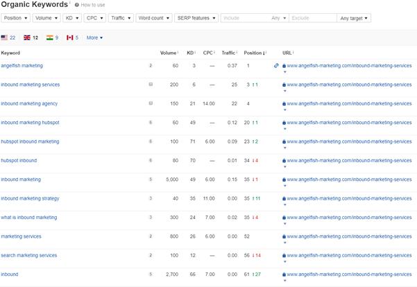 Screenshot depicting an increase in organic traffic through keywords