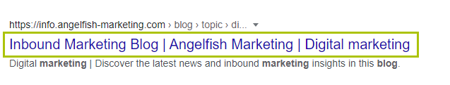 Example of content optimisation of a title tag in Google search results