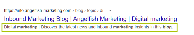 Example of content optimisation of a meta description in Google search results