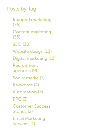 """Screenshot of """"Posts by tag"""" in the Angelfish Marketing blog, demonstrating blog tagging as part of content optimisation"""